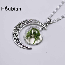 Houbian Crystal Ball Dried Flower Necklace Creative Design Green Wheat Pendant Jewelry Moon Necklace(China)