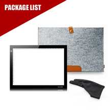 HUION L4S A4 LED LIGHT PAD Tracing Light Broad Tablet for Drawing +Wool Liner Bag+Two Finger Painting Glove