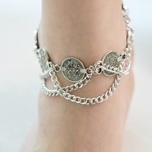 Bohemian Antique Silver Anklet Fashion Coin Tassel Leg Bracelet Luxury Charm Coin Chain Ankle Women Barefoot Sandal Foot Jewelry