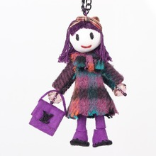Bonsny Handmade French Doll Necklace Girls Statement Cloth Long Chain Doll Pendant 2015 News Cute Choker Girls Women Accessories(China)