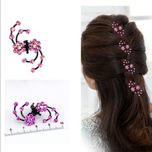 6 Pcs/pack Rhinestone Plum Flower Hair Claws Hairpin Clip Wedding Prom For Women Girls Headwear Accessories