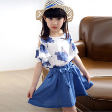 Girls Summer Wear The New Suit Short Sleeve T-shirt +girl Skirt + Maple Children's Clothing Blue and Pink Color 3-12 Ages