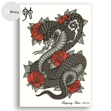 Temporary Fake Tattoos Waterproof Tattoo Stickers chinese zodiac animals snake Boa untame sexy Body Art Flower arm Girl(China)