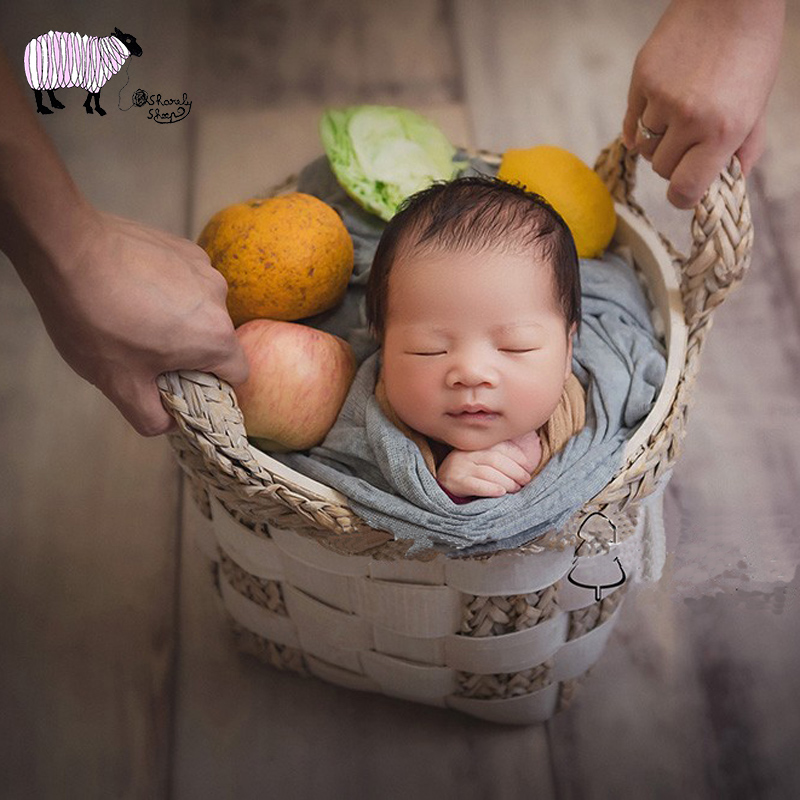 Newborn Baby Photography Plant Weaving White Basket Props Infant Photo Shoot Studio Baby fotografia Posing Shoot Accessories