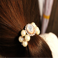 2017 Fashion Buns Hair Accessories Elastic Hair Band Towel Ring Crystal Pearl Polyester Headband Female Girl Glue(China)