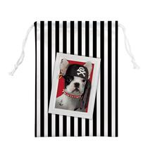 4pcs Bull dog with hat Printed Stripe Drawstring Bag Custom Cartoon Foldable Cloth Shoes Polyester Travel Animall Storage Bag(China)