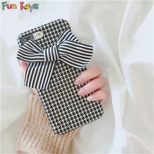 Fun Kays Houndstooth Stripe Bow Tie Cute Luxury Cloth Grid Kawaii Soft Funny Back Cover Lovely Phonecase Shell Dropship 678(China)