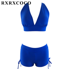 Buy RXRXCOCO Bikini 2017 Push Swimwear Women Plus Size Bikini Set Padded Swimsuit Sexy Halter Bandage Bathing Suit Swimming Suit