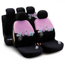 AUTOYOUTH Car Seat Covers Full Set Universal Fit Split Rear Pink Car Accessories Embroidery Flowers Car-Styling Women-like(China)