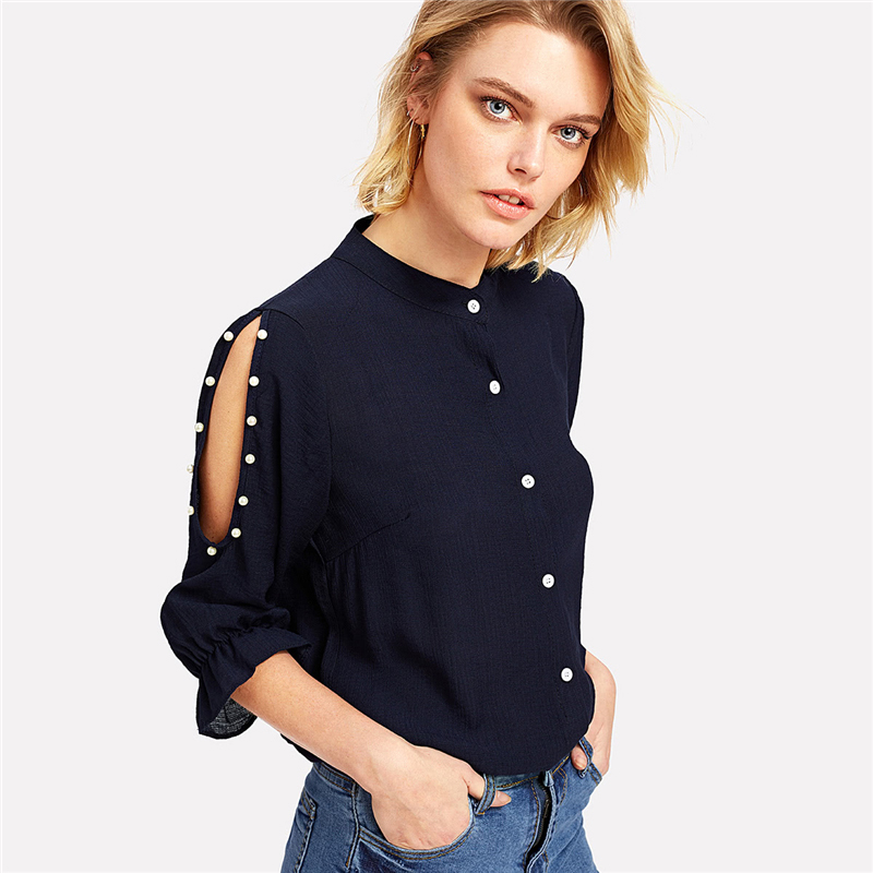 COLROVIE 2018 Spring Stand Collar Pearl Beading Blouse Women 3/4 Sleeve Split Shoulder Plain Top Navy Casual Button Shirt 4