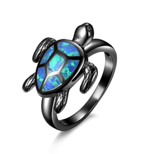 MJARTORIA Black Gold Filled Rings Turtle Blue Fire Opal Animal Rings For Women Wedding Engagement Cocktail Ring Fashion Jewelry