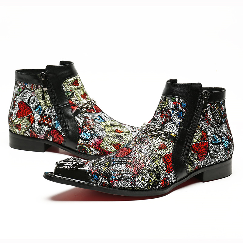 Free-Shipping-Genuine-leather-Men-Pointed-Toe-Metal-Ti-Men-s-Dress-Boots-Fashion-Handmade-Colorful