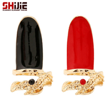 SHIJIE Korean Gold color Long Rings for Women Lovely Leaf White/Red/Black Nail Ring Men Anillos Fashion Jewelry Bague Femme Gift
