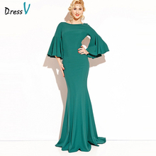 Dressv emerald green long 2017 evening dress 3/4 sleeves backless cheap wedding party formal dress elegant evening dresses(China)