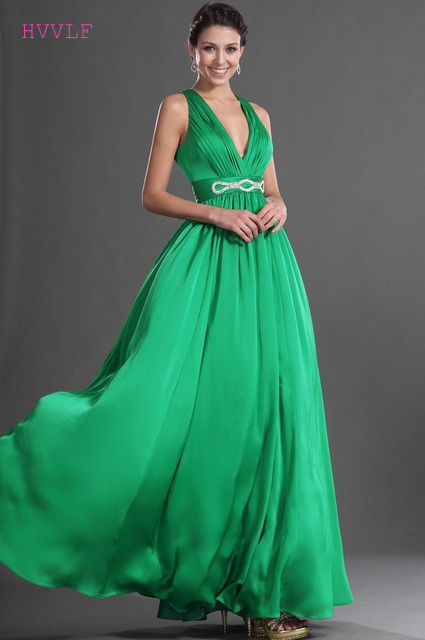 Green Evening Dresses 2019 A-line Deep V-neck Chiffon Backless Sexy Plus Size Long Evening Gown Prom Dresses Robe De Soiree