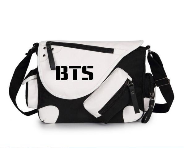 Korean BTS Bangtan Boys  Bulletproof Boys Canvas Casual Zipper Boys Girls Shoulder Bag Crossbody Bags Schoolbags Messenger Bag<br>