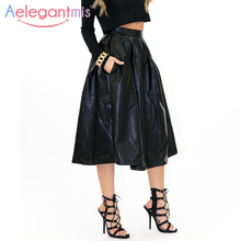 Aelegantmis 2017 Autumn High Waist PU Leather Skirt Women Long Black A-line Skirts Ladies Vintage Sexy Pleated Skirt With Pocket