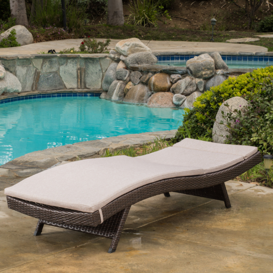 Lakeport Outdoor Adjustable Chaise Lounge Chair w/ Cushion (2)