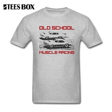 T Shirts Free Shipping Old School Muscle Racing Car Men's 100% Cotton Short Sleeve T-Shirt Fashion Men Round Neck Cool Tees