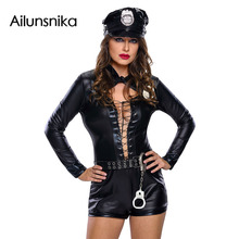 Ailunsnika Halloween Costumes for Women Sexy Adult Uniform New Year Stylish 6pcs Female Cop Costume DL89032