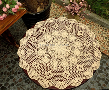 Handmade Crochet Flower Cotton towel Round tablecloth Cover Doilies Simple round Sofa towel Gabe appliances White and Beige