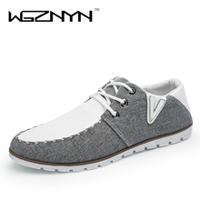 WGZNYN 2017 Spring Summer Men Shoes Fashion Breathable Denim Shoes Slip Mens Casual Canvas Shoes Men Flats Zapatillas Hombre