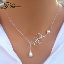 "Phesee Hot Fashion Trend Necklaces Leaves Simulated Pearl Hoop ""1"" Hand Chain Necklace Jewelry For Women Gifts E0316"
