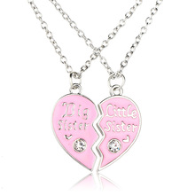 "Hainon Fashion 2 pcs/set ""Big&Little sister"" Pink Heart shaped Zircon Pendant Necklaces Sister Chains Best Friends Forever Gift"