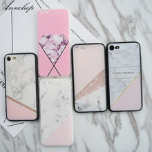 Fashion Pink Diamond Marble Square Hard case for iphone 5s SE 6 6s Plus Cover Coque Capa fundas for iphone X 7 8 Plus case(China)