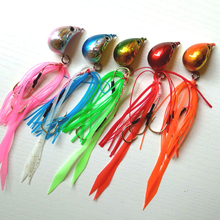 5pcs 150g/100g/80g/60g/50g/40g Jig head with fishing lure skirt lead jig lead fish jigging lure metal fishing lure(China)