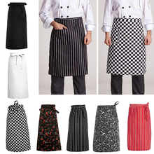 1Pcs Unisex Kitchen Cooking Hotel Chef Aprons Uniforms Waist Short Apron Restaurant Waiter Aprons with Pockets(China)