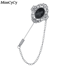 MissCyCy 2016 Vintage Brooches Unisex Collar Pins Resin Lapel Pin Brooch Pins Men Tassel Chain Brooch Bijoux