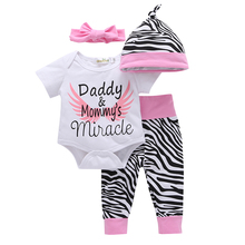 4Pcs 9M~3T Autumn White Short Sleeves Cotton Bodysuits + Zebra Striped Pants + Pink Headband + Hat Baby Girl Clothes Sets V20(China)