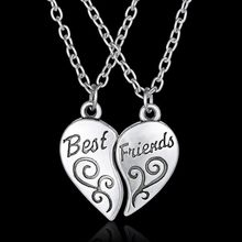 "2Pc/Set Women Lady Girls Friendship Heart Letter ""BEST FRIEND"" Silver Pendant Necklace Chain Best Gift"