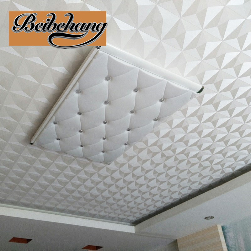 beibehang Ceiling Wallpaper 3d Stereo White Diamond Hotel Living Room Continental Style Ceiling Roof Wallpaper papel de parede<br>