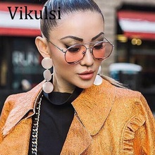 2017 Super Star Luxury Aviator Cat Eye Sunglasses Women Brand Designer Pilot Sun glasses Summer Ladies Pink Clear Glasses gafas