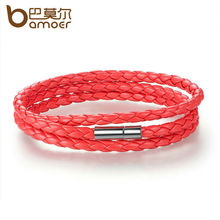 BAMOER Fashion Men & Women Leather Wrap Bracelet with Adjustable Long Chain Magnet Red Bracelets Jewelry PI0063-6