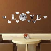 2017 New Arrival art diy sticker wall clock Living Room modern Acrylic clocks mirror watch home decoration Free shipping