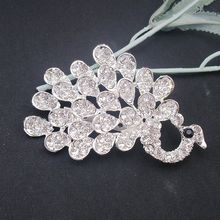Large Clear Crystal Rhinestone Peacock Fowl Bird Elegant Tail Train Pin Brooch, Item No.: BH7747