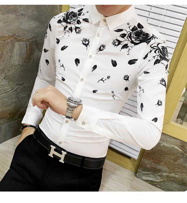 Men Dress Shirt with Gold Print Black White Long Sleeve Fashion Designer Shirt Fancy Shirts Men Floral Shirt Wedding Dress 6