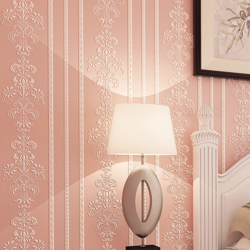 Free Shipping Modern warm plain living room non woven wallpaper European 3D vertical striped bedroom wallpaper<br>