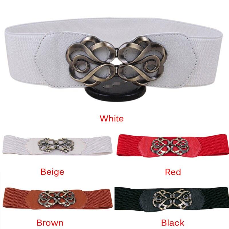 Women Vintage Belt PU Leather Wide Metal Buckle Waist Belt Waistband Stretch Straps Thin Skinny Elastic Accessories 2018 Female
