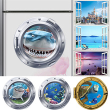 3d smiling big shark nemo dory submarine portholes windows wall stickers for washing machine decoration diy wall decals art(China)
