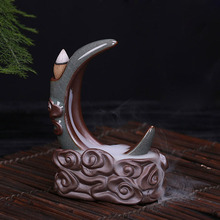 Creative Gift Home Decor Gourd Crescent Moon Lotus Censer Ceramic Porcelain Yixing Aroma Backflow Incense Burner Plate Ornament