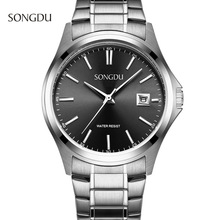 2017 SONGDU fashion Leisure model Man Watch Steel Band Calendar Waterproof Sports Simple Men Quartz Watches relogio masculino(China)