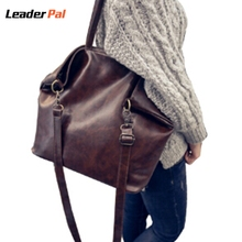 Black/Brown Womens Leather Handbags Soft PU Leather Shoulder Bag for Women Ladies Hand Bags Vintage Portable Large Totes Bag(China)