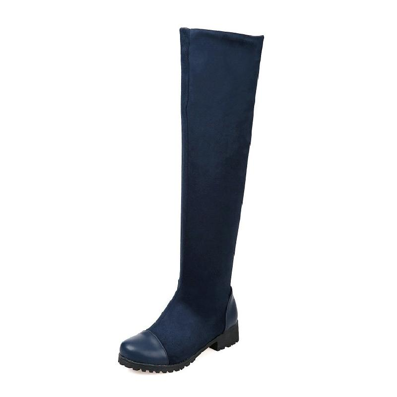 SALCXOI winter boots women snow boots over the knee boots flock med heel female shoes plus size 43 42 small 33 hot sale &amp;M1-10<br>