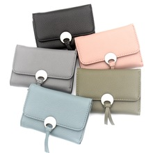 Fashion New Women wallet High quality PU leather 3 fold wallet high-capacity card clip tassel Hasp ladies short purse Female bag