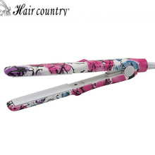 Hair Country Mini Ceramic Pink Flower Zebra Hair Straightener Flat Irons Professional Hair straightening Irons Styling Tool(China)