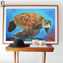 Watercolor Sea Turtle Wall Art Prints and Posters Canvas Painting Pictures For Living Room Tortoise Kid's Decoration Home Decor